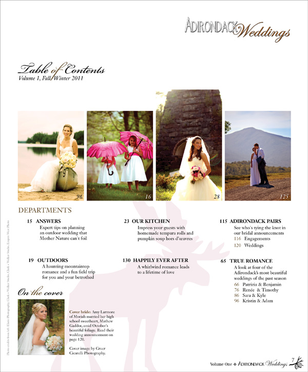 Adirondack Weddings Table of Contents Volume 1