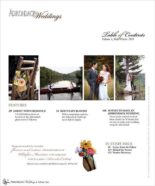 Adirondack Weddings Table of Contents Volume 1