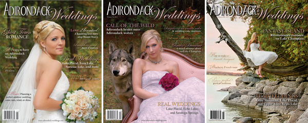All three volumes of Adirondack Weddings Magazine