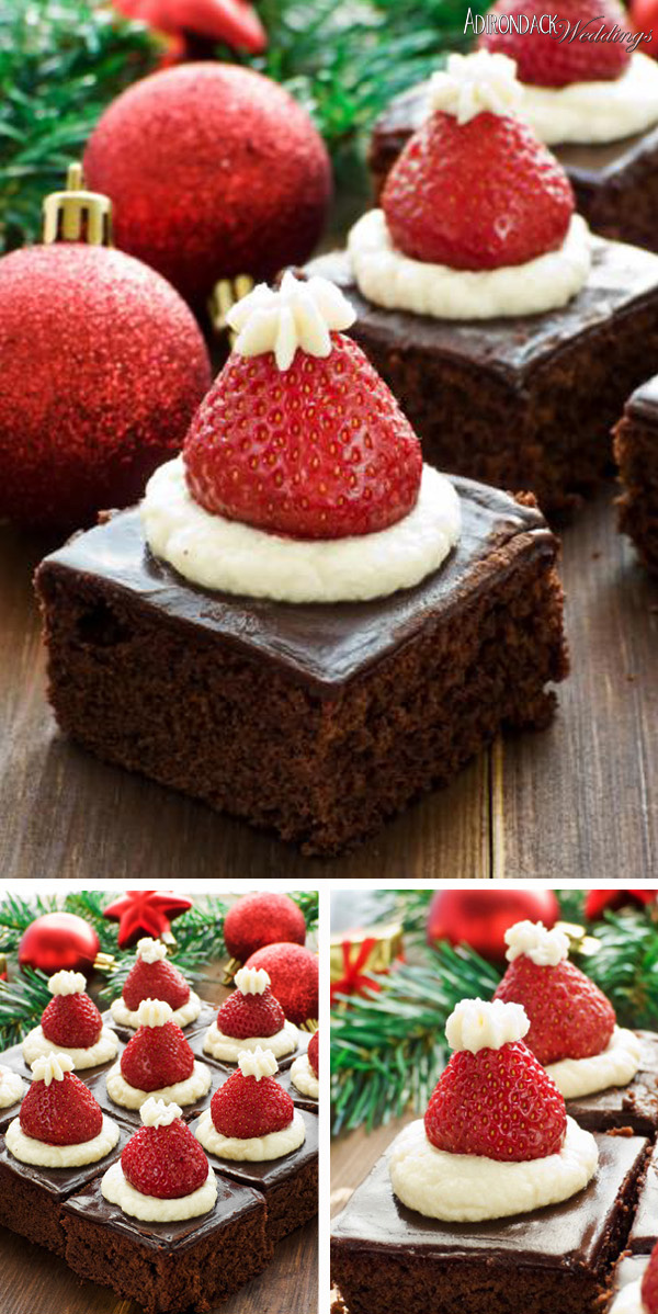 Santa Hat Brownies | Adirondack Weddings Magazine