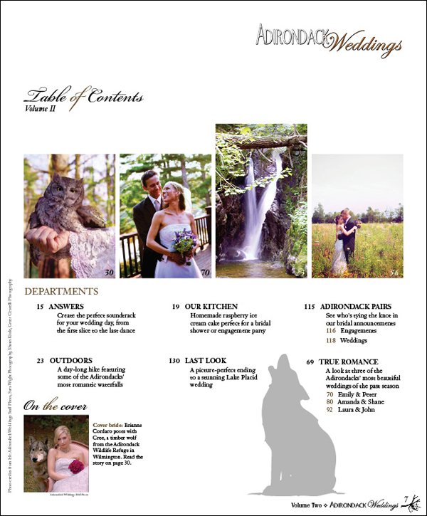 Adirondack Weddings Magazine | Volume 2 | Table of Contents Page 1
