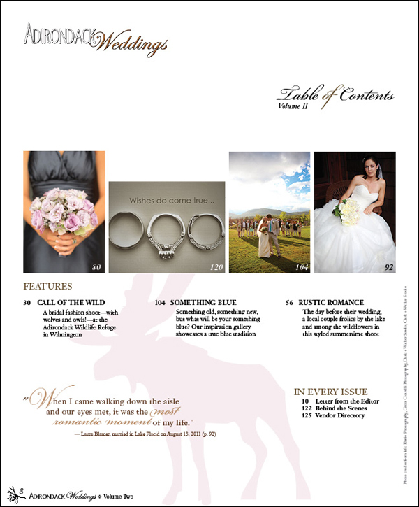 Adirondack Weddings Magazine | Volume 2 | Table of Contents Page 2