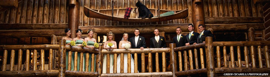 Bridal party in an Adirondack lodge in Lake Placid